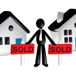 businessman buying two house and lot vector