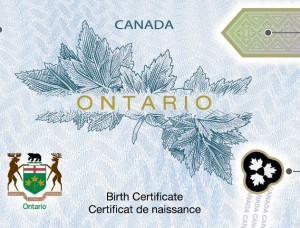 New Ontario Birth Certificates
