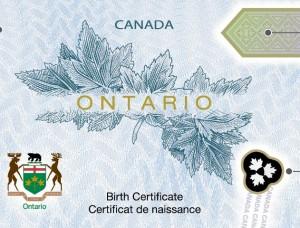 New Ontario Birth Certificates