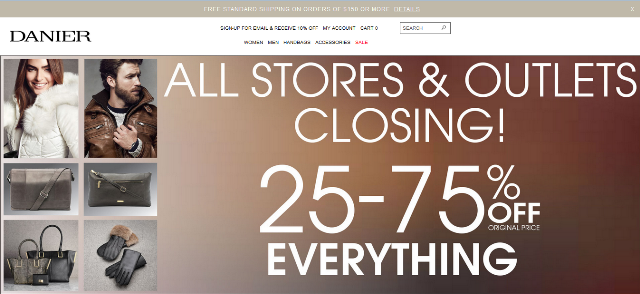All DANIER Stores Closing! 25-75% OFF!