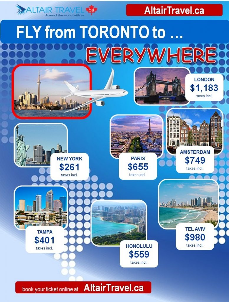 Scheduled Flights from Toronto to … Everywhere