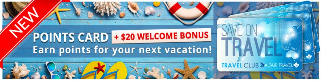 Get your Altair Travel Points Card with $20 welcome BONUS